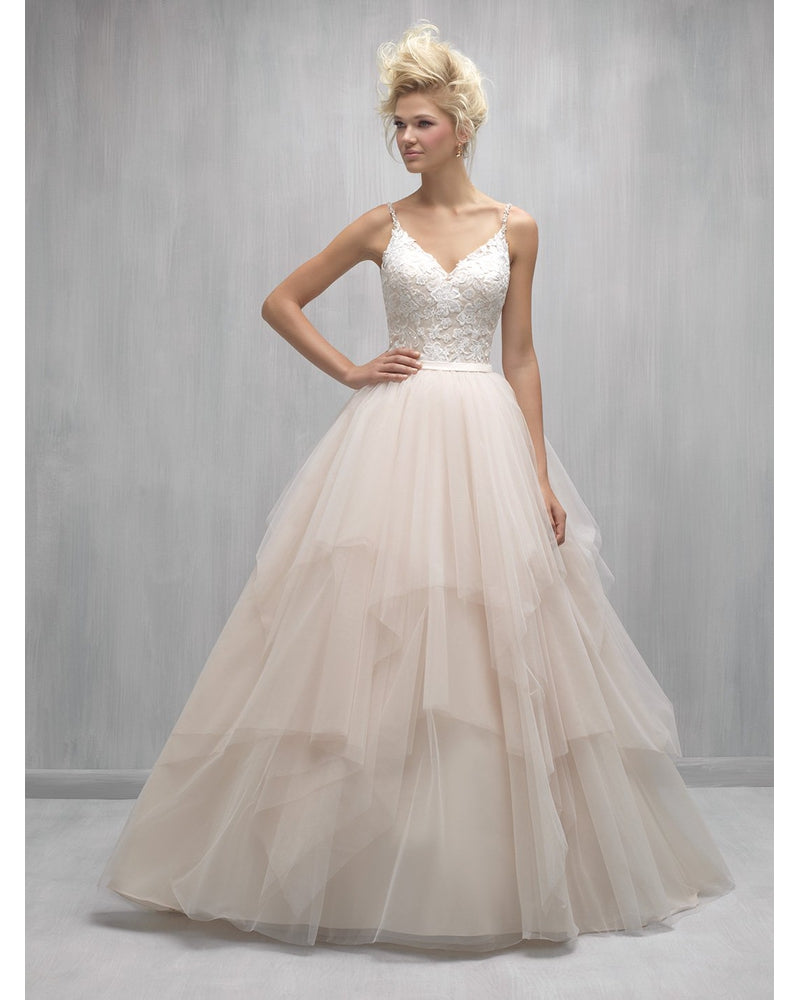 Champagne Asymmentrical Ballgown w/ layers of tulle