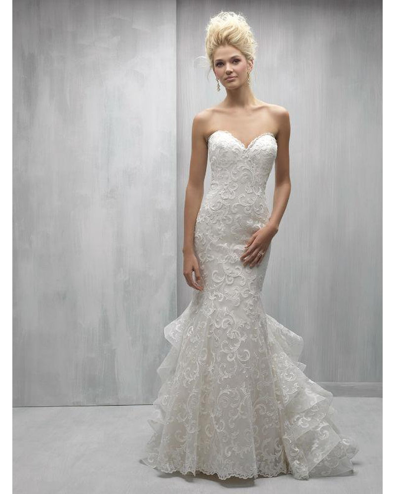 Ivory Bold Lace Fit and Flare with Ruffled train