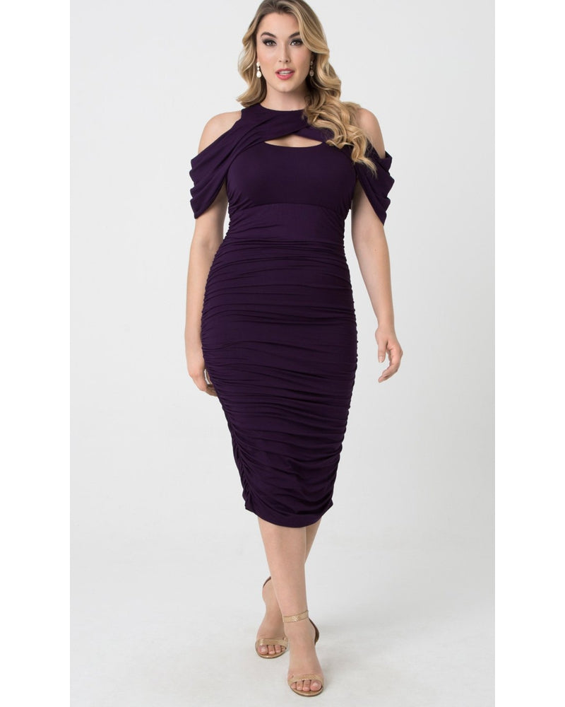 Kiyonna Womens Plus Size Bianca Ruched Dress Plum