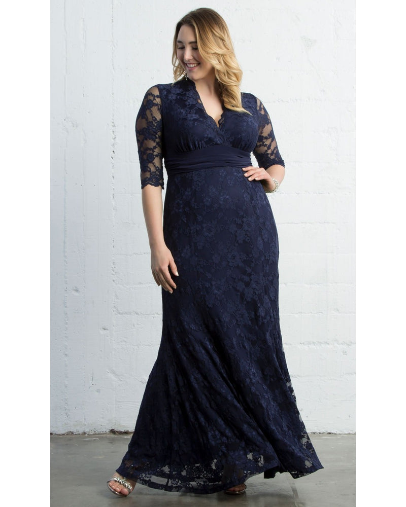 Kiyonna Womens Plus Size Screen Siren Lace Gown Nocturnal Navy