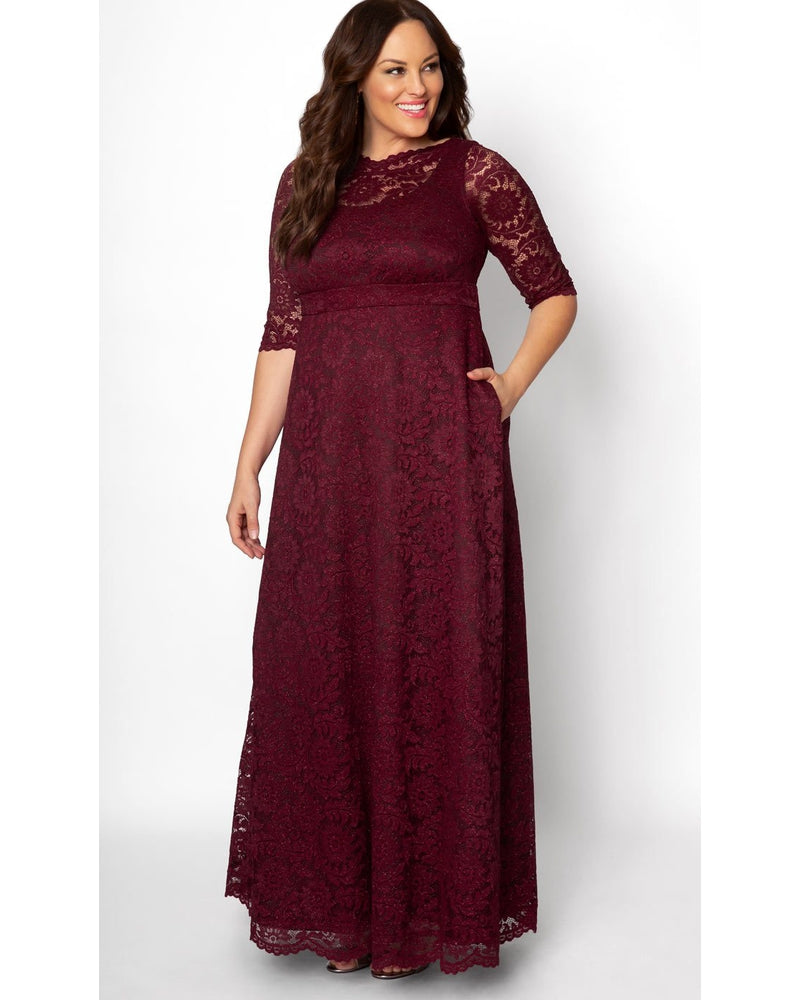 Kiyonna Womens Plus Size Special Edition Leona Lace Gown Glittering Garnet