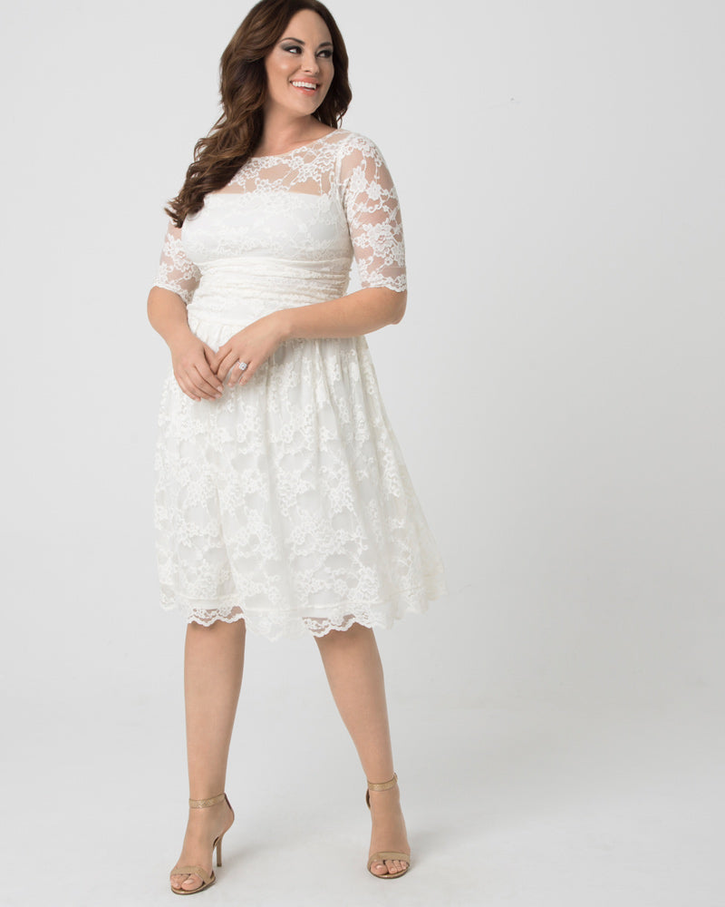 Kiyonna Womens Plus Size Aurora Lace Wedding Dress