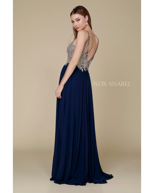 Navy Chiffon Long Plus Dress