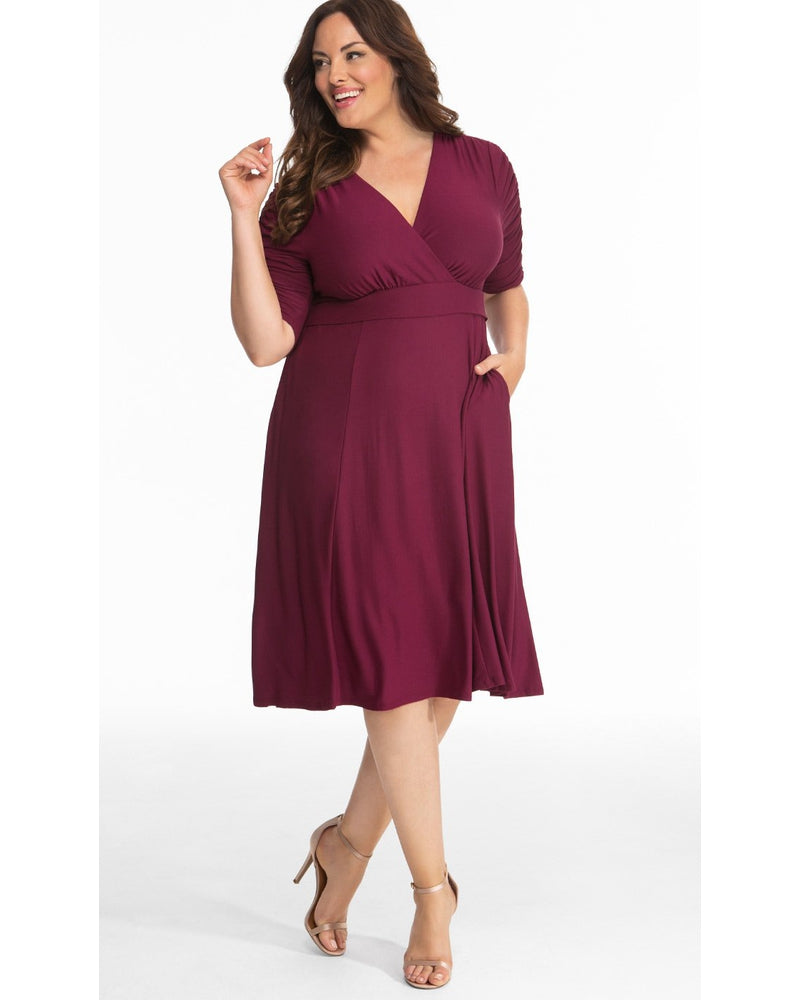 Kiyonna Womens Plus Size Gabriella Dress Bordeaux