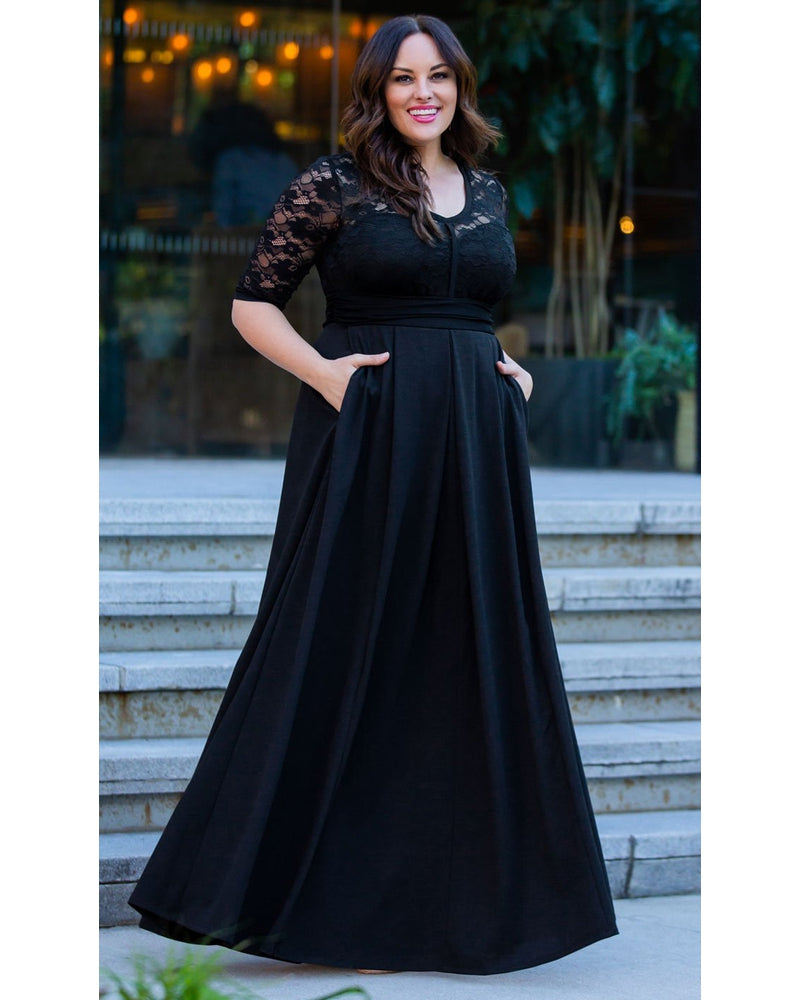 Kiyonna Womens Plus Size Madeline Evening Gown Onyx