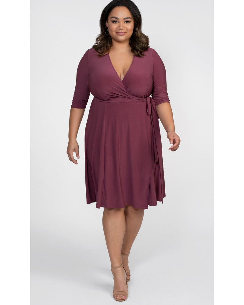 Kiyonna Womens Plus Size Essential Wrap Dress Berrylicious