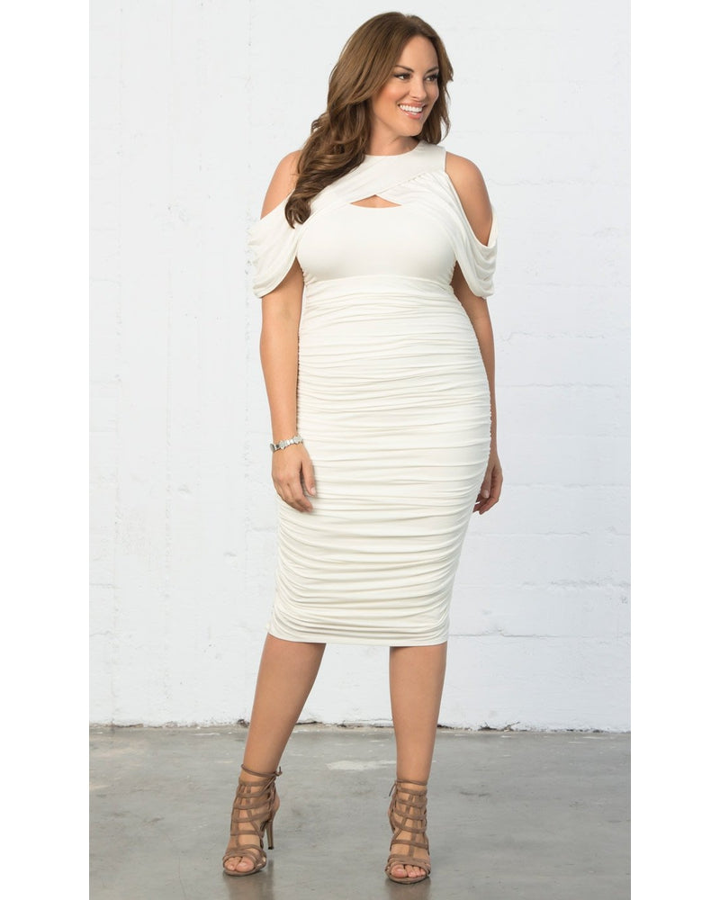 Kiyonna Womens Plus Size Melissa Midi Dress Porcelain