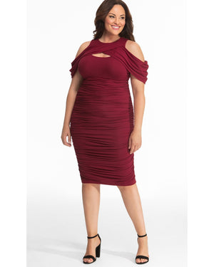 Kiyonna Womens Plus Size Bianca Ruched Dress Ruby