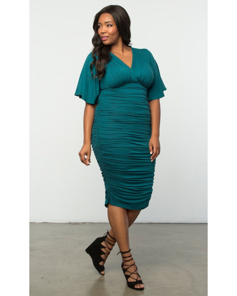 Kiyonna Womens Plus Size Rumor Ruched Dress Tease Me Teal