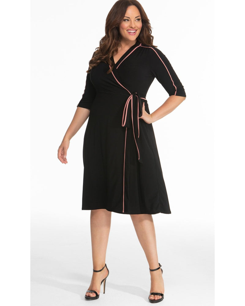 Kiyonna Womens Plus Size Harper Wrap Dress Peach / Black