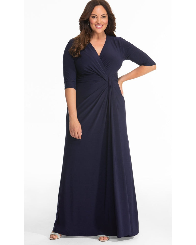 Kiyonna Womens Plus Size Romanced by Moonlight Gown Nocturnal Navy