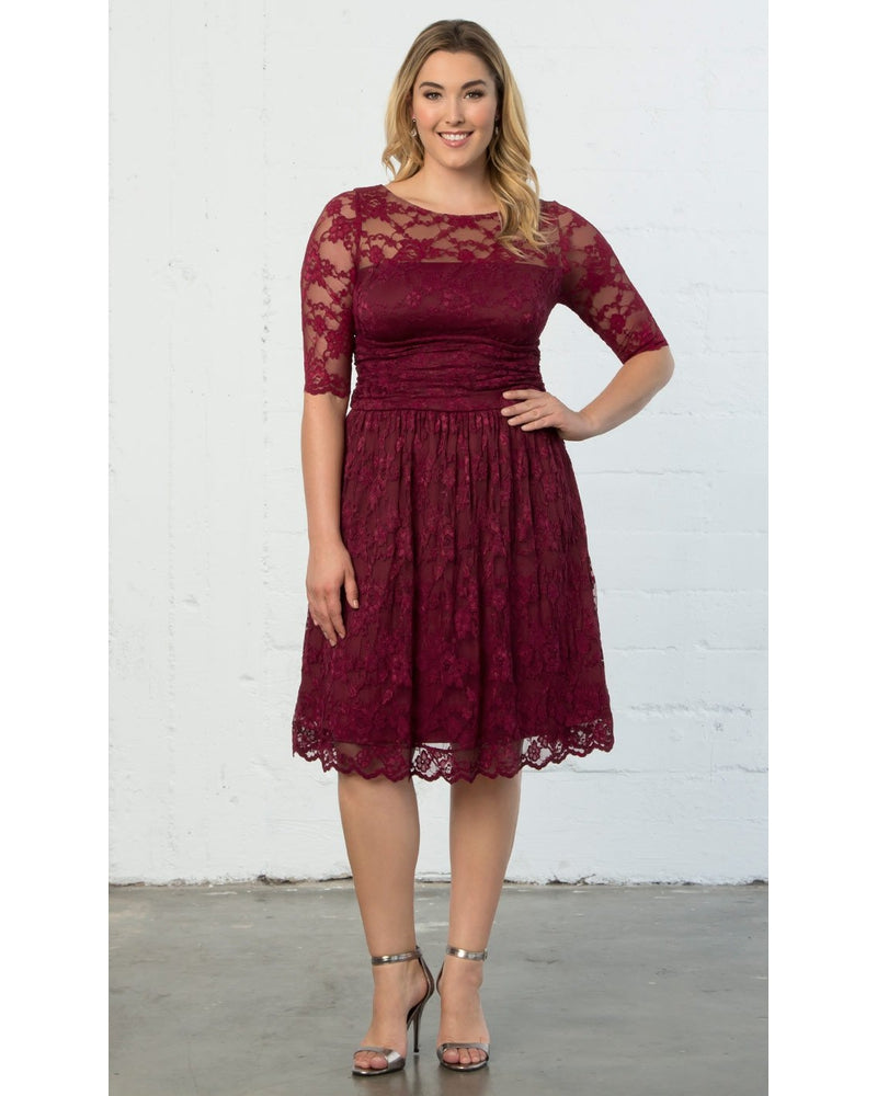 Kiyonna Womens Plus Size Luna Lace Dress Rose Wine
