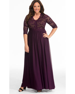 Kiyonna Womens Plus Size Jasmine Lace Evening Gown Imperial Plum