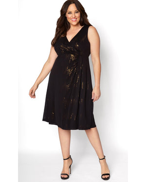 Kiyonna Womens Plus Size Spotlight Cinch Dress Gold/Onyx