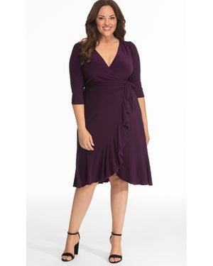 Kiyonna Womens Plus Size Whimsy Wrap Dress Plum Passion