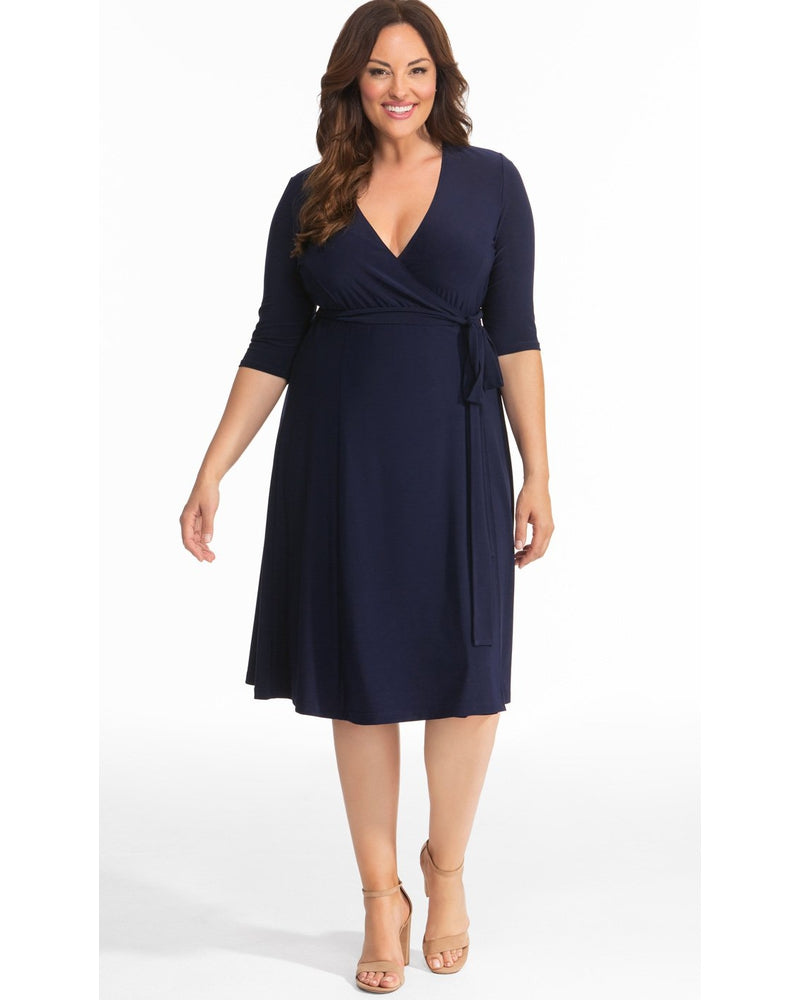 Kiyonna Womens Plus Size Essential Wrap Dress Nouveau Navy