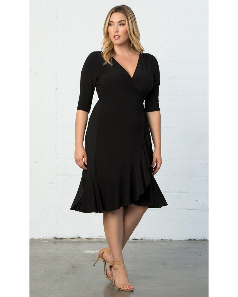 Kiyonna Womens Plus Size Whimsy Wrap Dress Black Noir