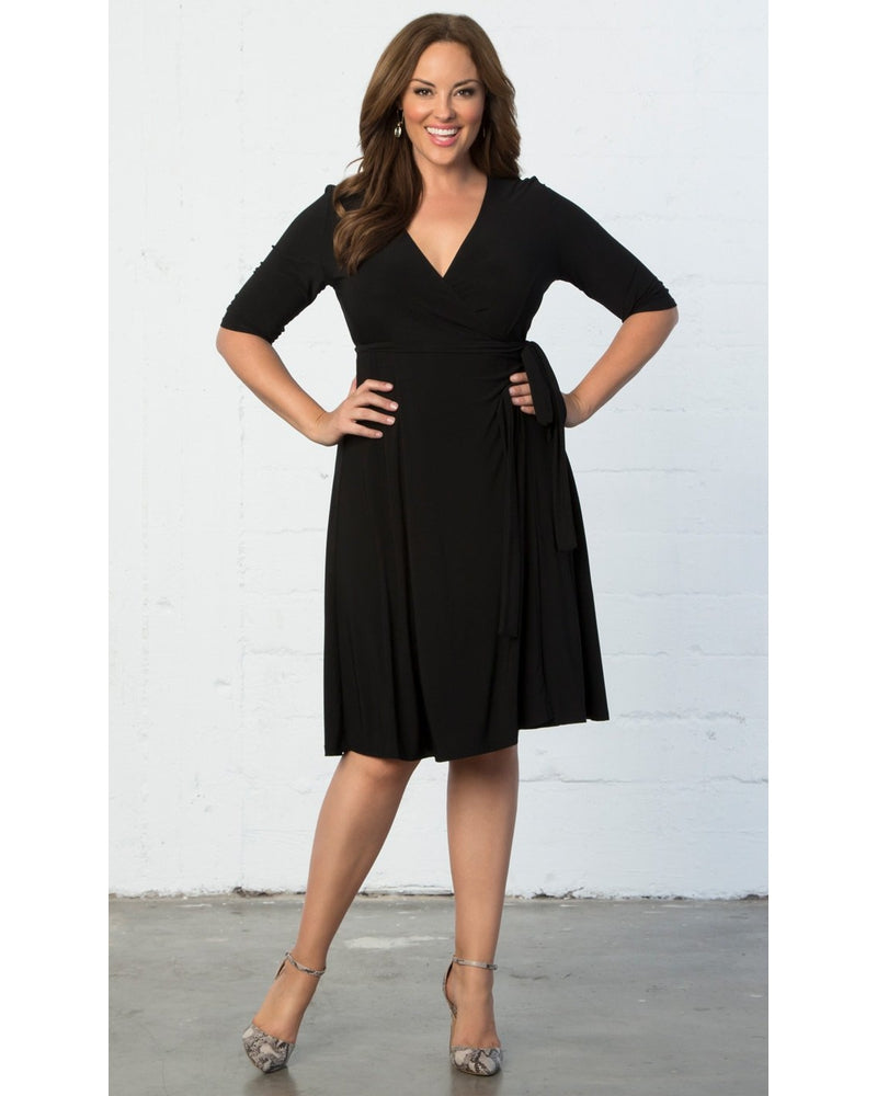 Kiyonna Womens Plus Size Essential Wrap Dress Black Noir