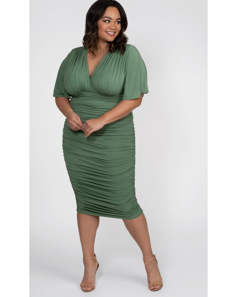 Kiyonna Womens Plus Size Rumor Ruched Dress Sage