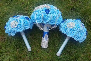 Blue and Bling Bouquet Set