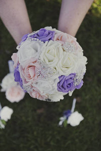 Peach Violet and Ivory Bouquet Set