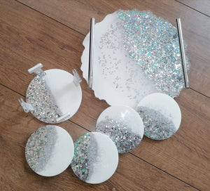 SET of resin geode luxury tray with 4 coasters and coaster holder