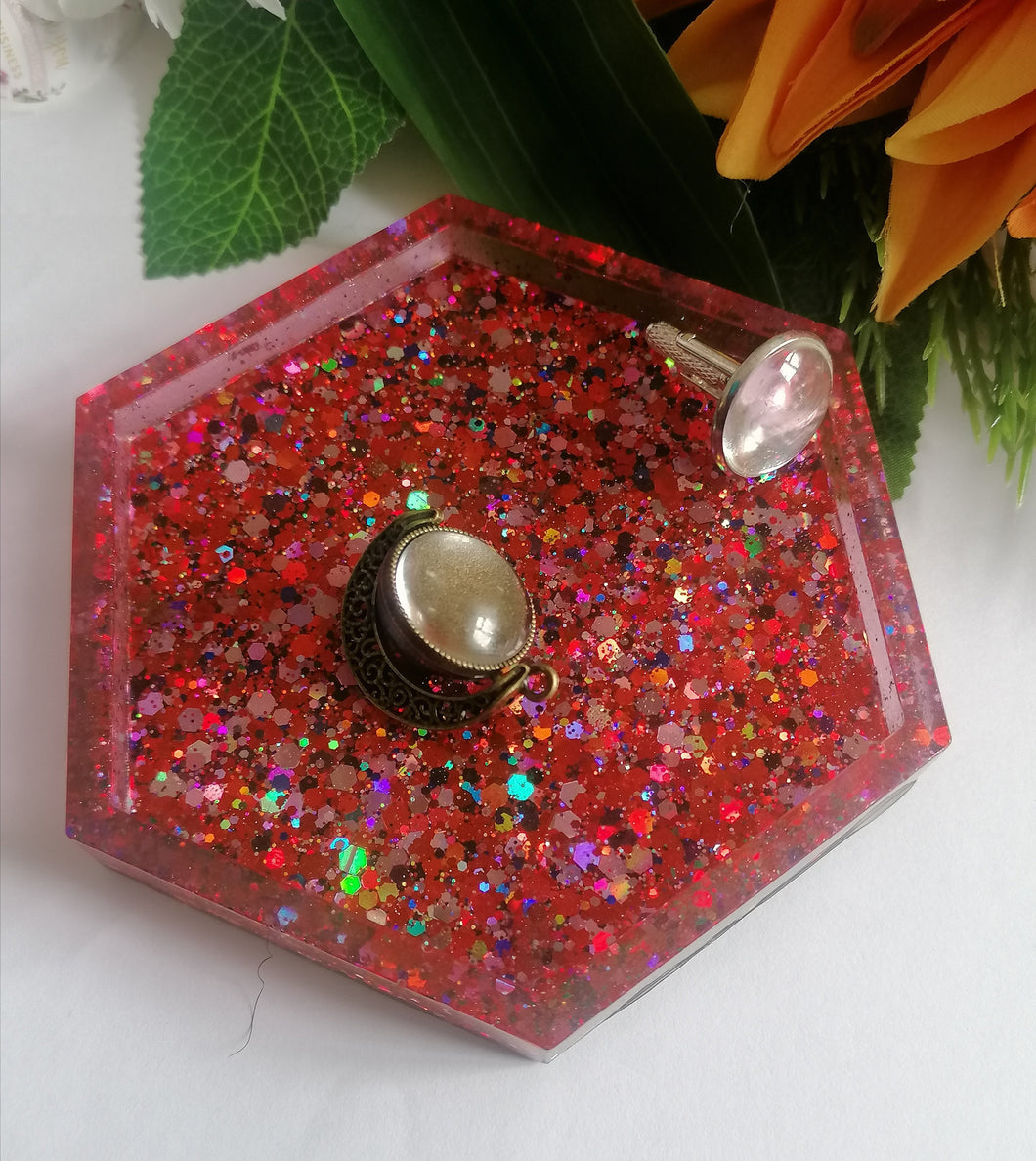 Jewellery glitter dish, coin tray, custom keepsake order, trinket dish