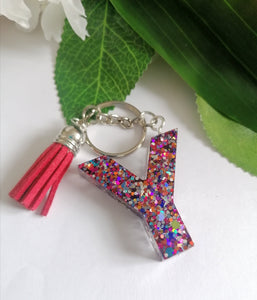 Personalised Letter Y keyring - Glitter keychain - stocking filler - Custom order welcome