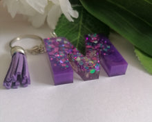 Load image into Gallery viewer, Personalised Letter M keyring - Glitter keychain - stocking filler - Custom order welcome