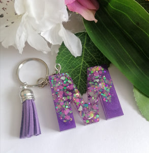 Personalised Letter M keyring - Glitter keychain - stocking filler - Custom order welcome