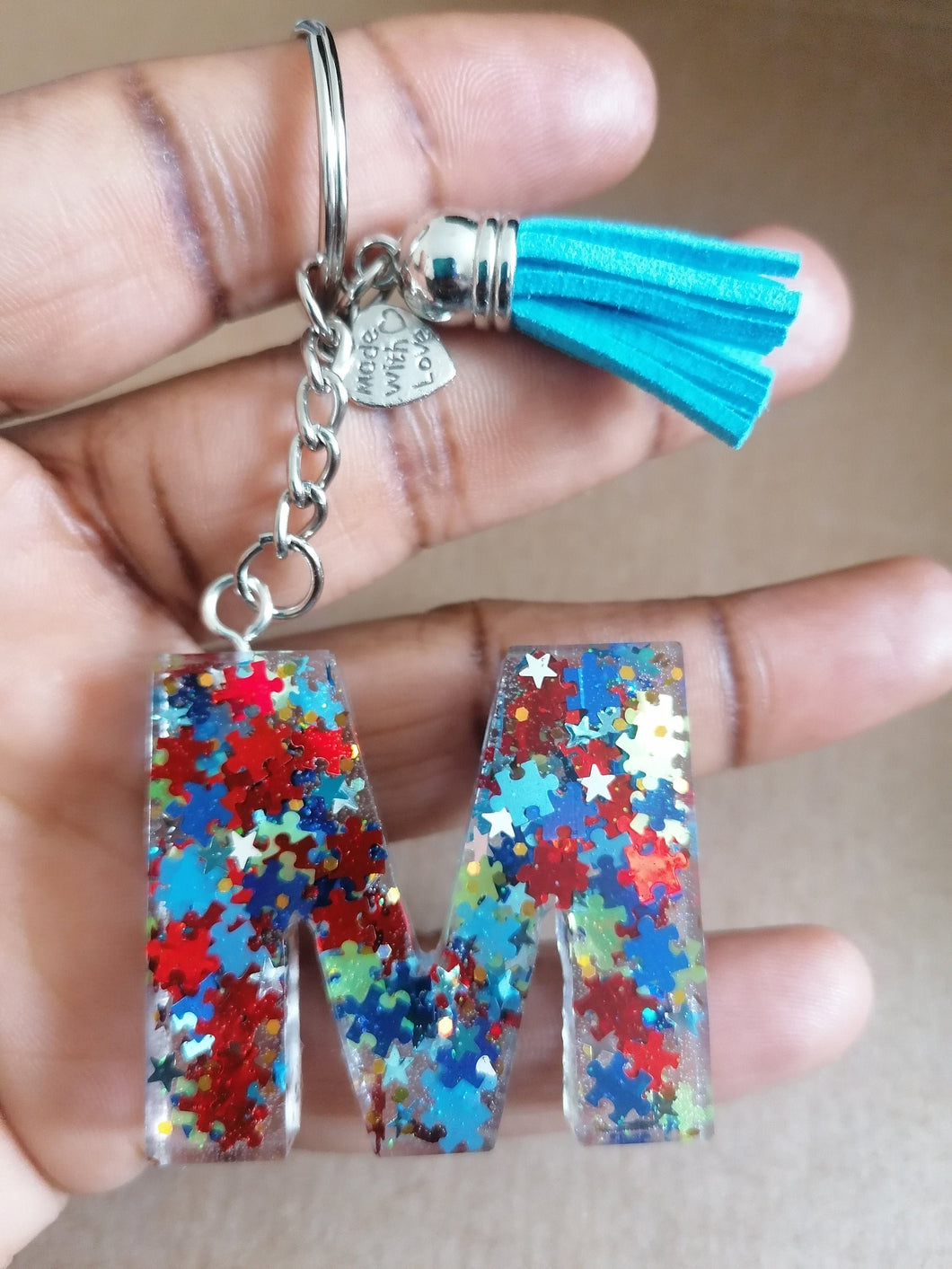 Autism Letter M keyring - Personalised Glitter keychain - stocking filler - Custom order welcome