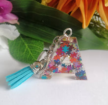 Load image into Gallery viewer, Autism Letter A keyring - Personalised Glitter keychain - stocking filler - Custom order welcome