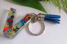 Load image into Gallery viewer, Autism Letter V keyring - Personalised Glitter keychain - stocking filler - Custom order welcome