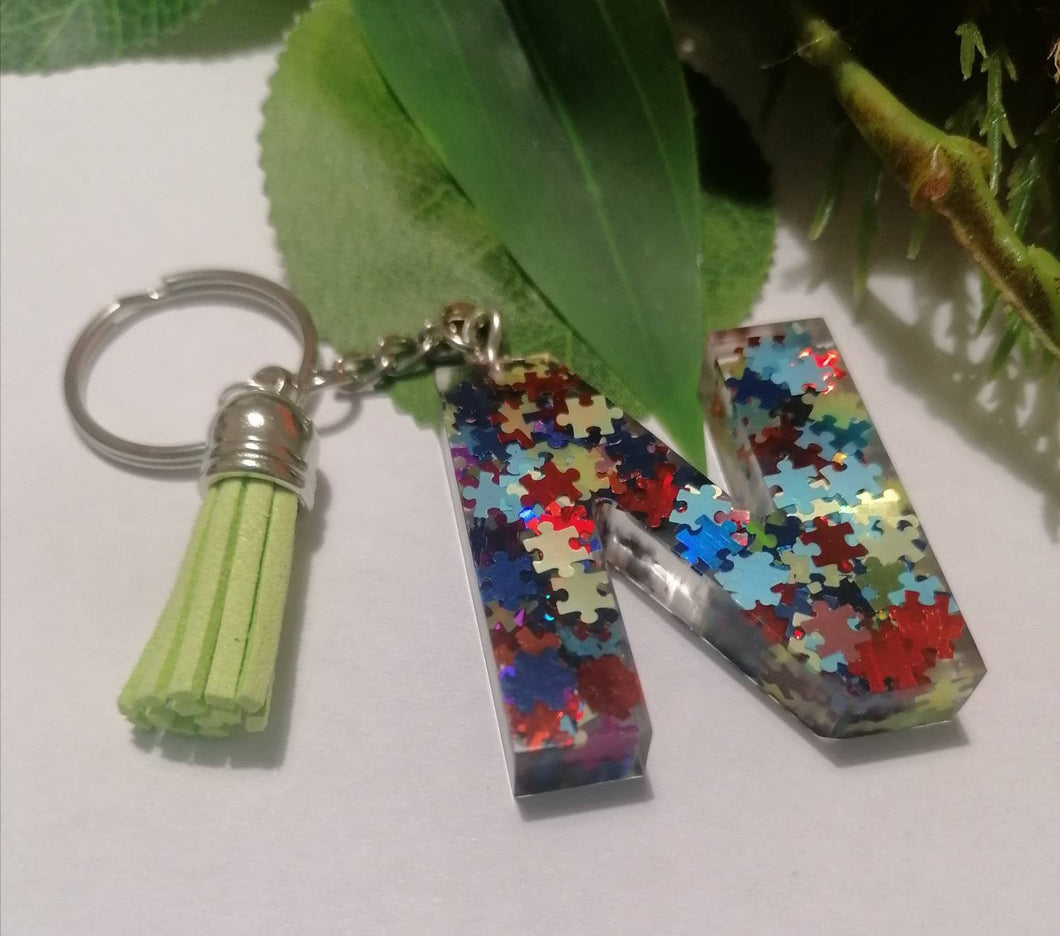Autism Letter N keyring - Personalised Glitter keychain - stocking filler - Custom order welcome