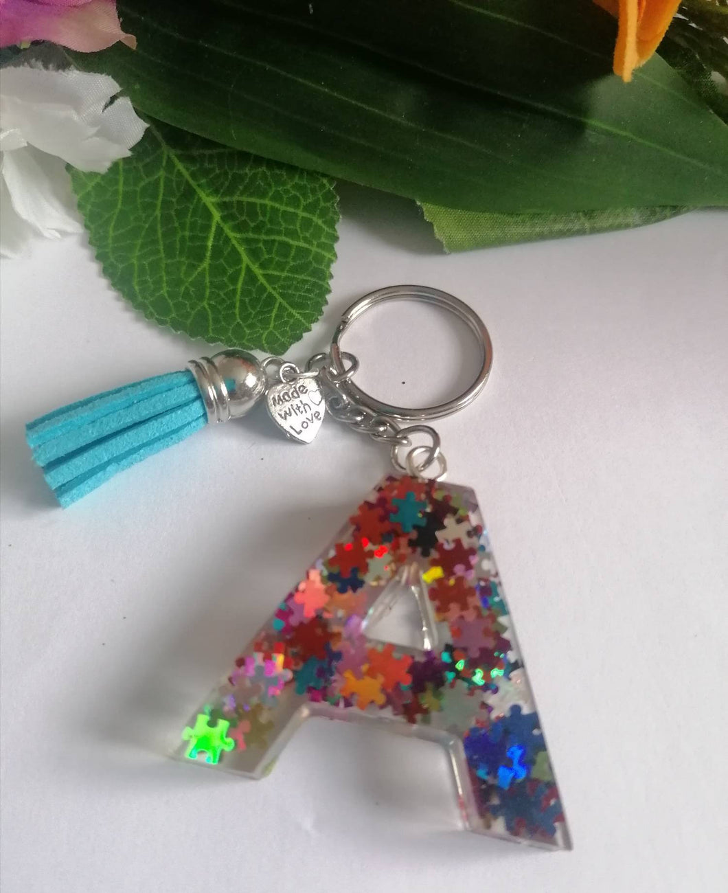 Autism Letter A keyring - Personalised Glitter keychain - stocking filler - Custom order welcome
