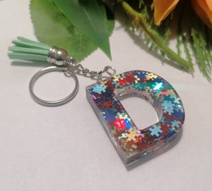 Autism Letter D keyring - Personalised Glitter keychain - stocking filler - Custom order welcome