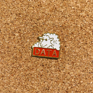 happiness is HC DATA sheep enamel pin