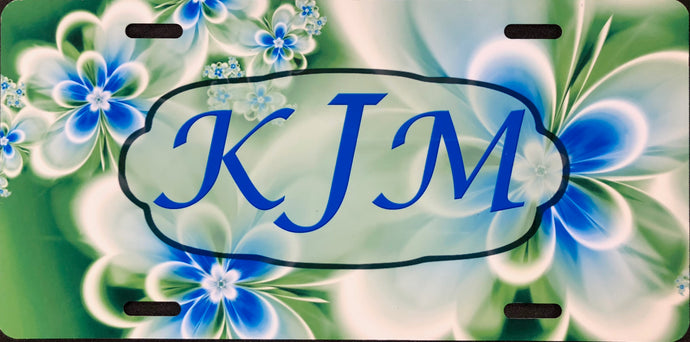 License Plate, Initials/Name on Blue & Green Flowers