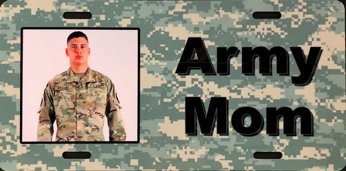 License Plate, Personalized, Photo on Army Mom Camo