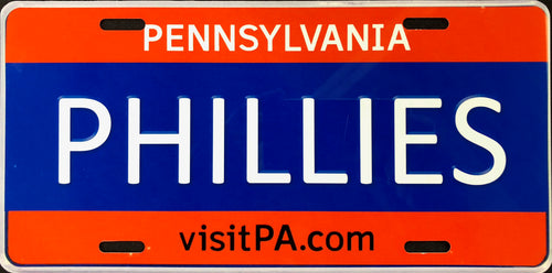 License Plate, PA Plate, Red & Blue, Phillies