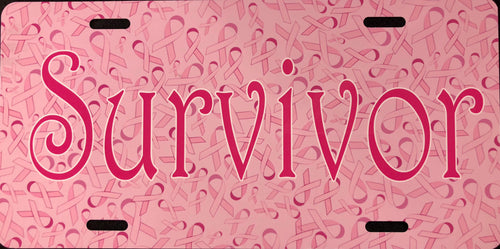 License Plate, Survivor on Pink Ribbon Background
