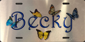 License Plate, Name(s) with Butterflies on Silver Plate
