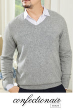 Laden Sie das Bild in den Galerie-Viewer, 45% Kaschmir Pullover Herren himmelblau Wolle Cashmere - Confectionair Berlin