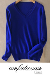 35% Kaschmir Pullover blau weiß Wolle Damen - Confectionair Berlin