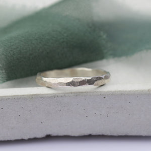 Thick hammered ring