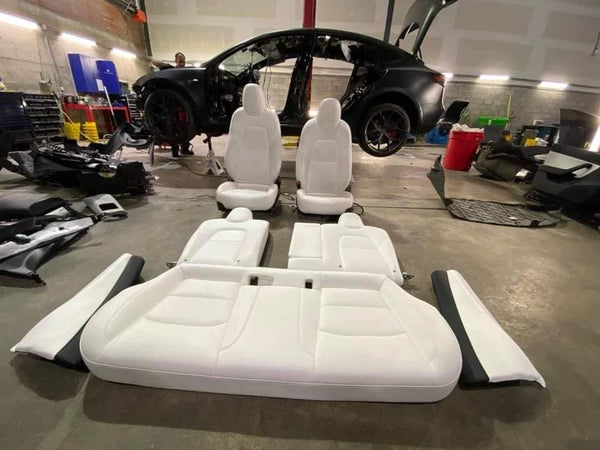 Tesla Model 3 FRONT AND REAR SEAT ASSEMBLY M3 PRM PUR WHT