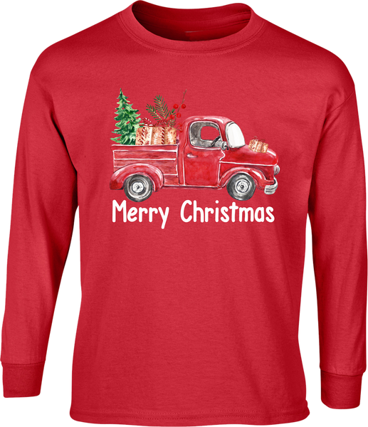 Merry Christmas Antique Truck Shirt - Long Sleeve Red Tee