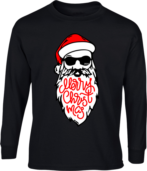 Santa Beard Merry Christmas 2020 Shirt - Long Sleeve Black Tee