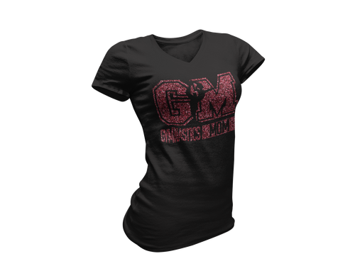 Red Glitter Black Gymnastics Mom Tee