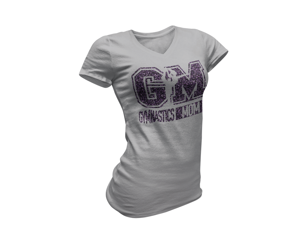 Purple Glitter Athletic Heather Gymnastics Mom Tee